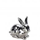 accroupi lapin en céramique, L 12cm, argent